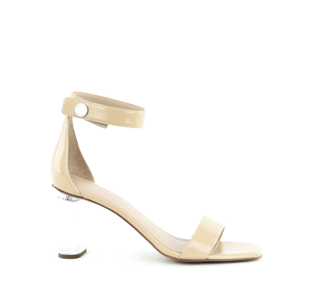 Yieldings Discount Shoes Store's Lexx Block Heel Sandals by Kendall + Kylie in Light Natural Patent