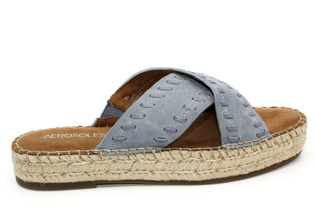Yieldings Discount Shoes Store's Rose Gold Suede Espadrilles Platform Sandals by Aerosoles in Blue