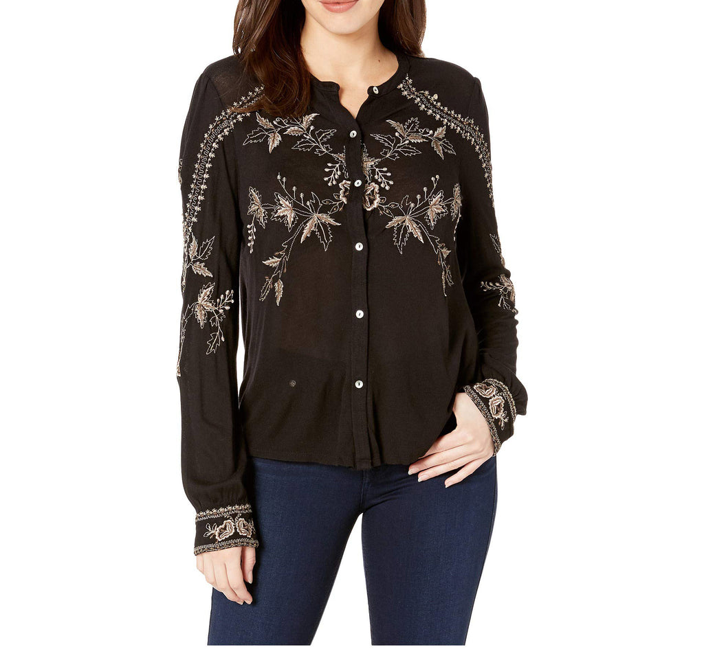 Yieldings Discount Clothing Store's Embroidered Button Up by Lucky Brand in Black