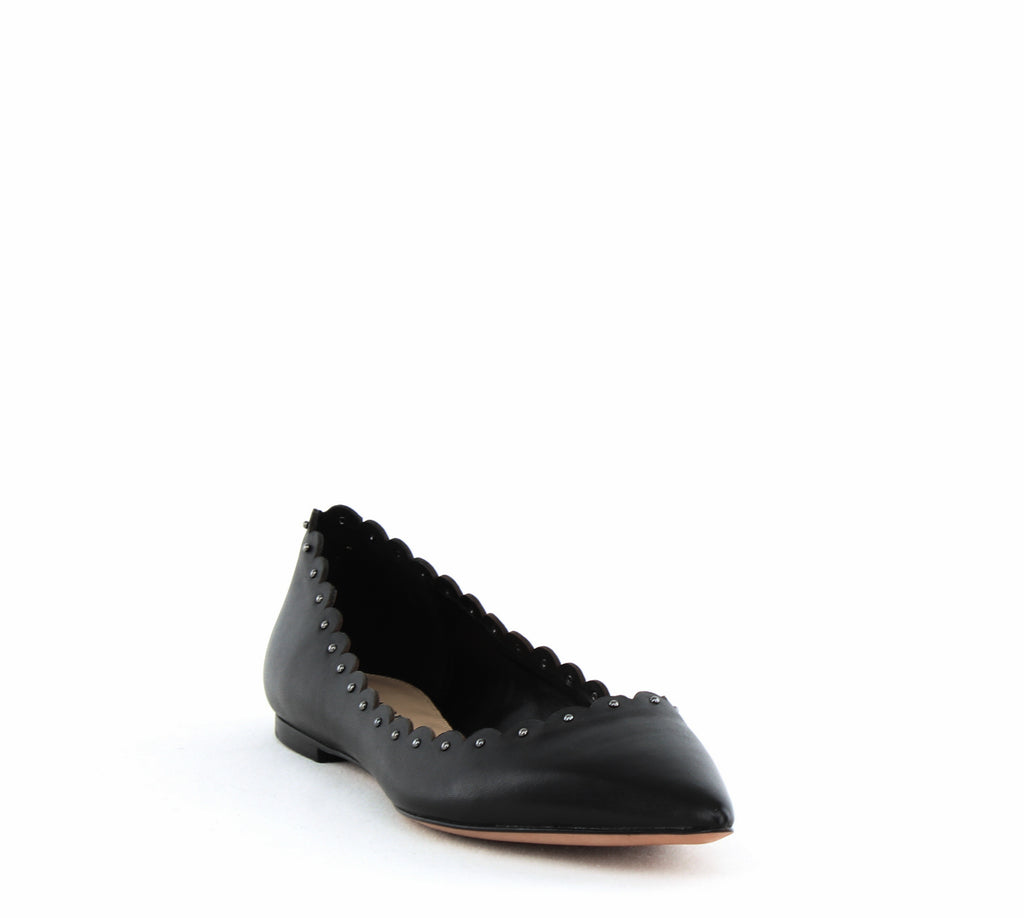 Yieldings Discount Shoes Store's Jill Studded Trim Flats by Coach in Black