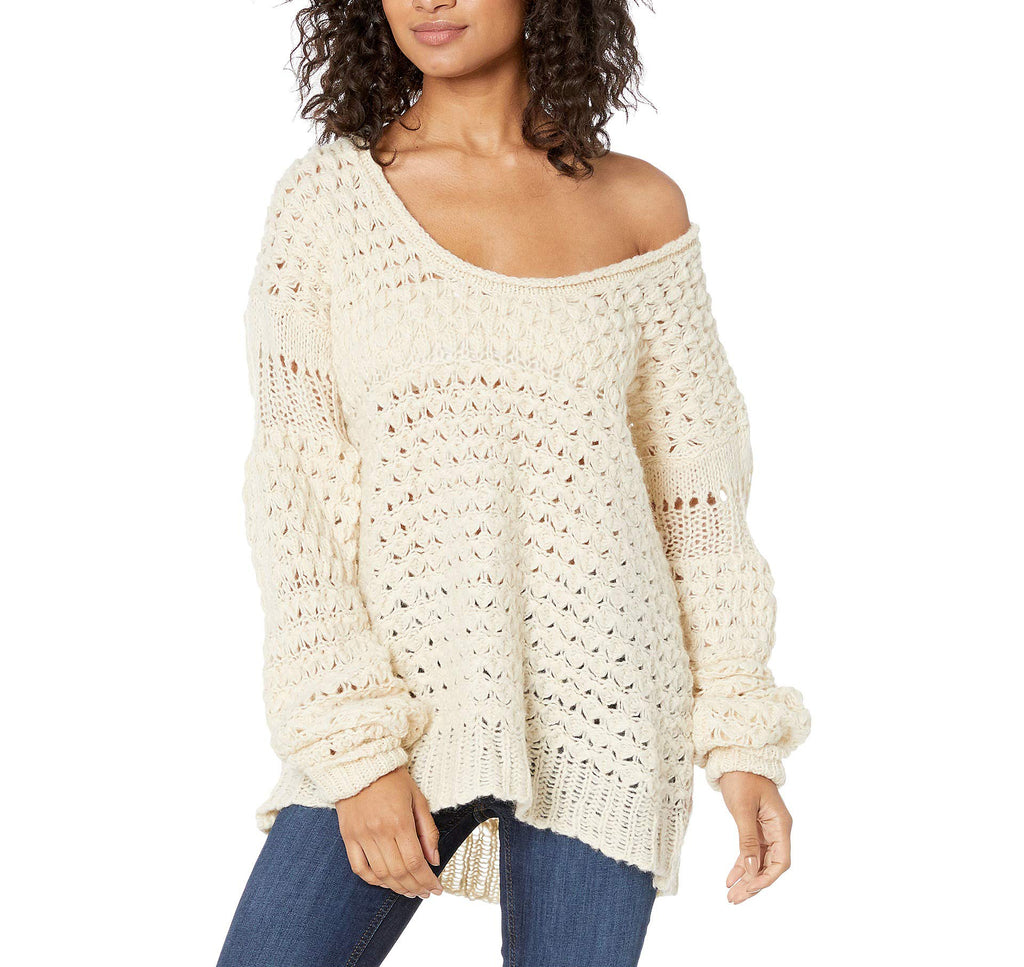 Yieldings Discount Clothing Store's Crashing Waves Pullover by Free People in Cream