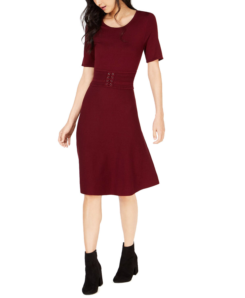 Yieldings Discount Clothing Store's Sweater Corset Dress by Maison Jules in Ruby Wine