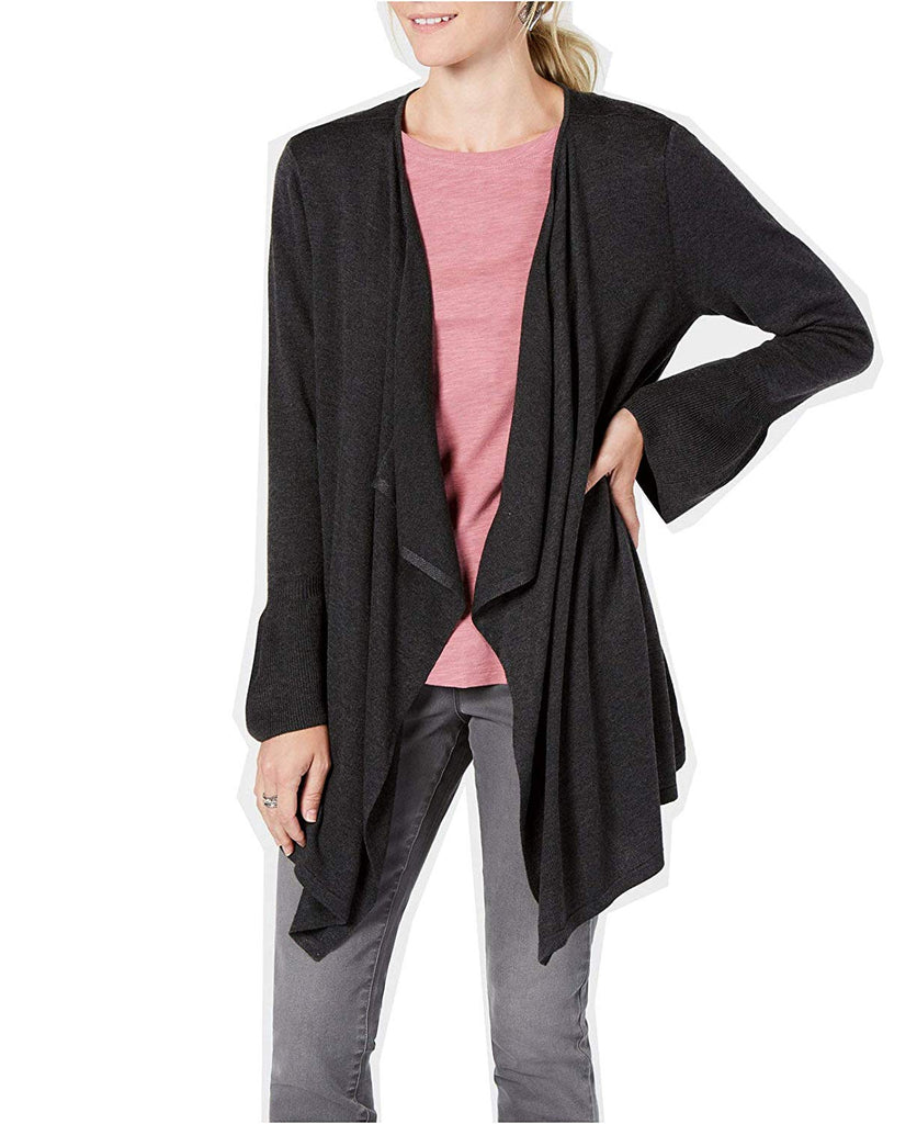 Yieldings Discount Clothing Store's Bell Sleeve Draped Cardigan by Style & Co in Black Heather