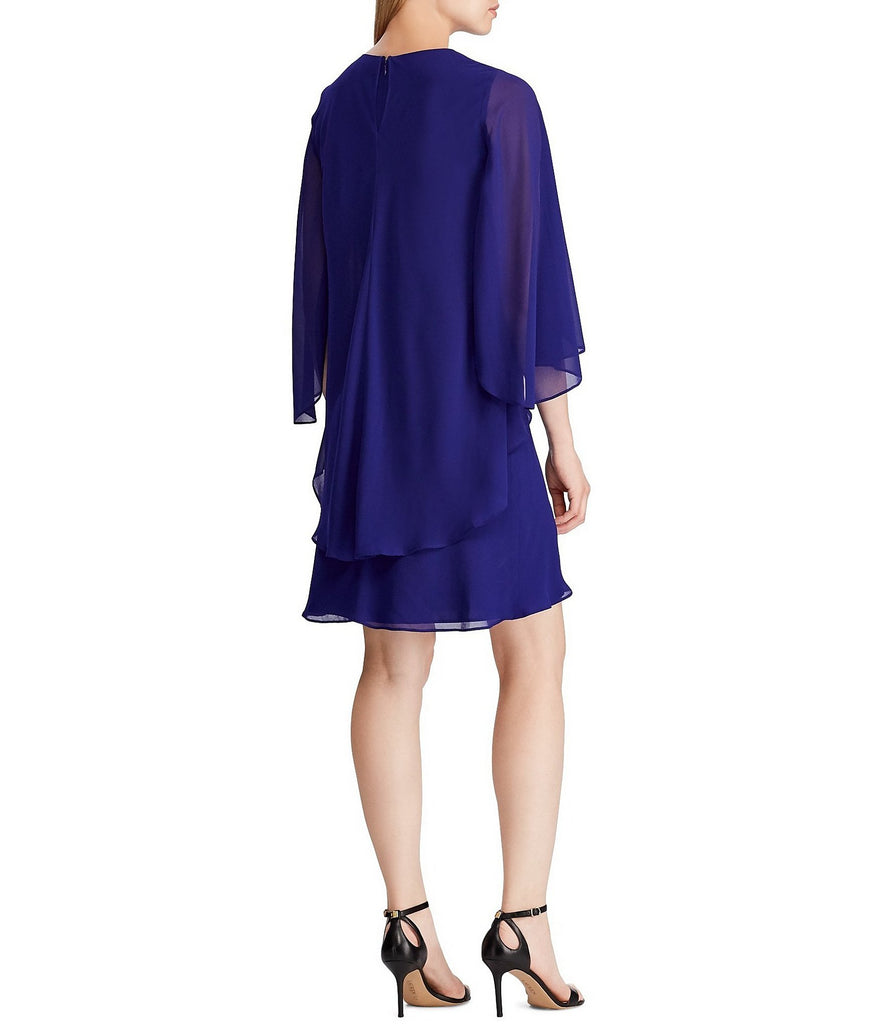 Yieldings Discount Clothing Store's Apollonia Tiered Cape Sleeves Cocktail Dress by Lauren by Ralph Lauren in Blue