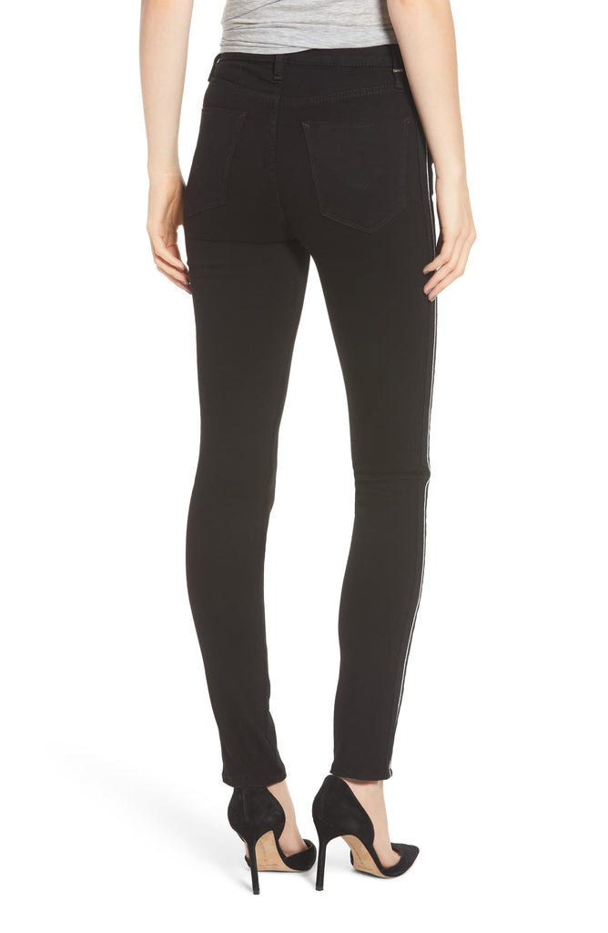Yieldings Discount Clothing Store's Holly Black Luxe High-Rise Crop Skinny Jeans by Hudson in Black