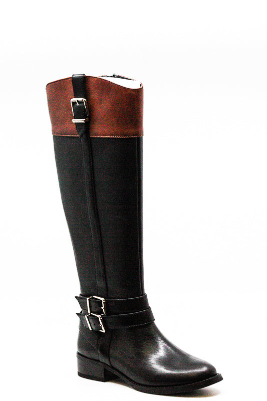 Yieldings Discount Shoes Store's Frank II Riding Boots Wide Calf by INC in Black/Cognac