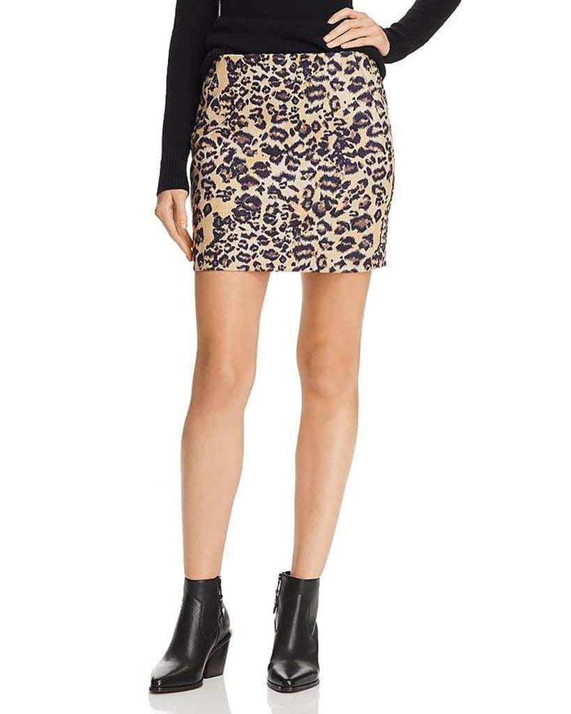 Yieldings Discount Clothing Store's Leopard Print Faux-Suede Mini Skirt by Aqua in Leopard