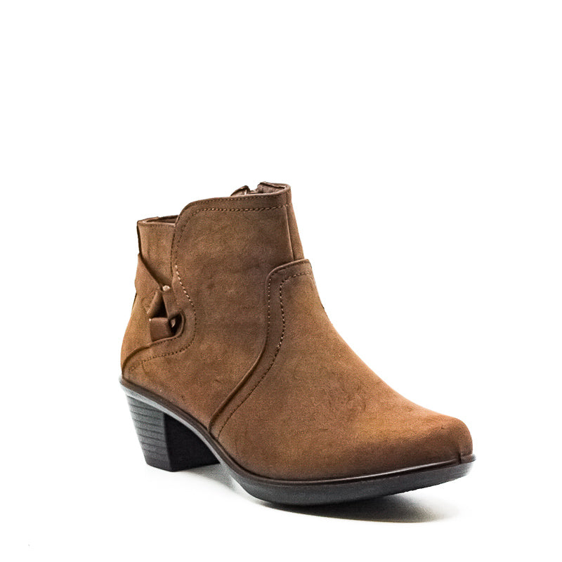 Yieldings Discount Shoes Store's Dawnta Block Heel Ankle Boots by Easy Street in Brown Matte