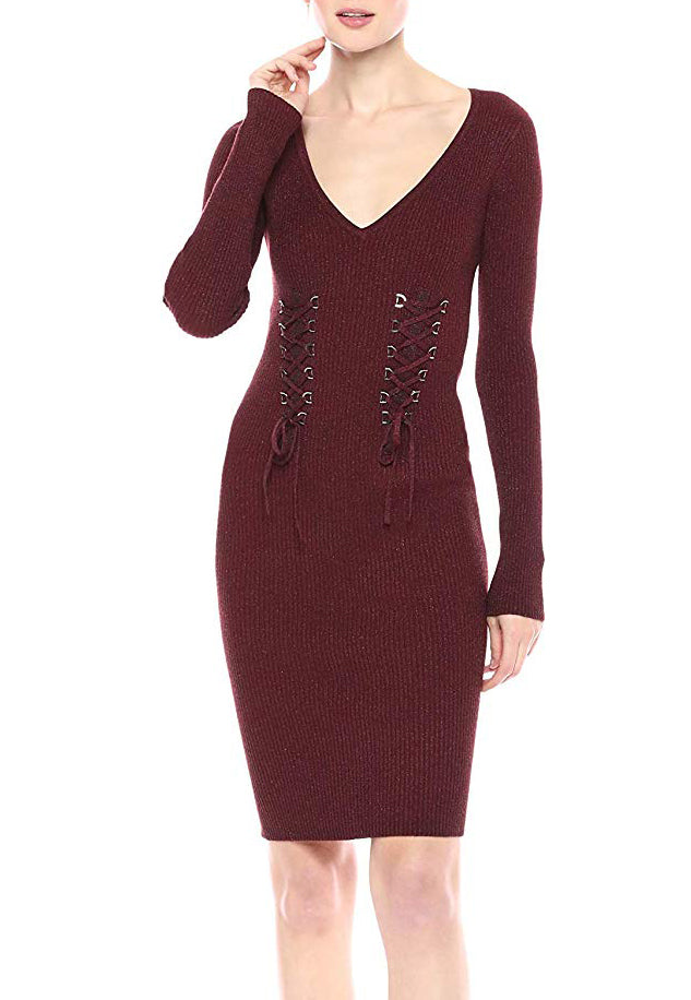 Yieldings Discount Clothing Store's Glitz D-Ring Sweater Dress Petite by Guess in Syrah Multi