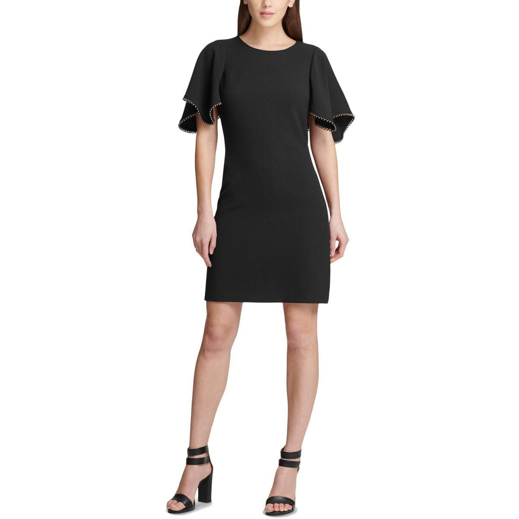 Yieldings Discount Clothing Store's Flutter-Sleeve Shift Dress by DKNY in Black