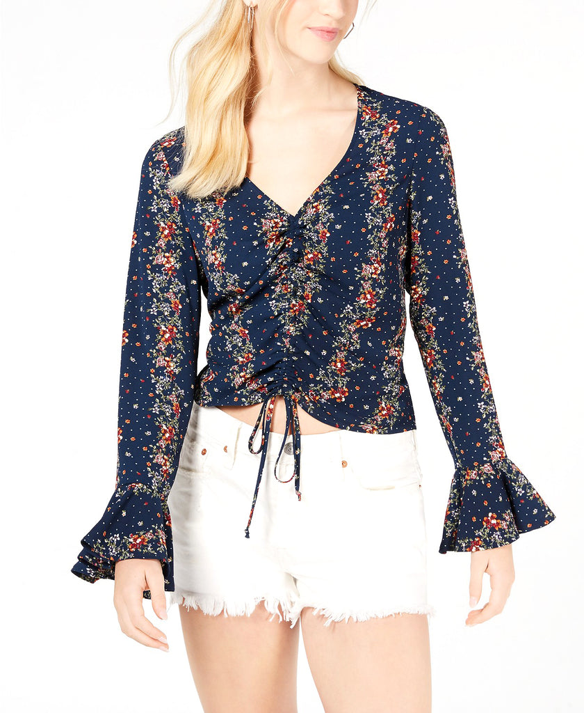 Yieldings Discount Clothing Store's Printed & Ruched Bell-Sleeve Top by Gypsies & Moondust in Navy