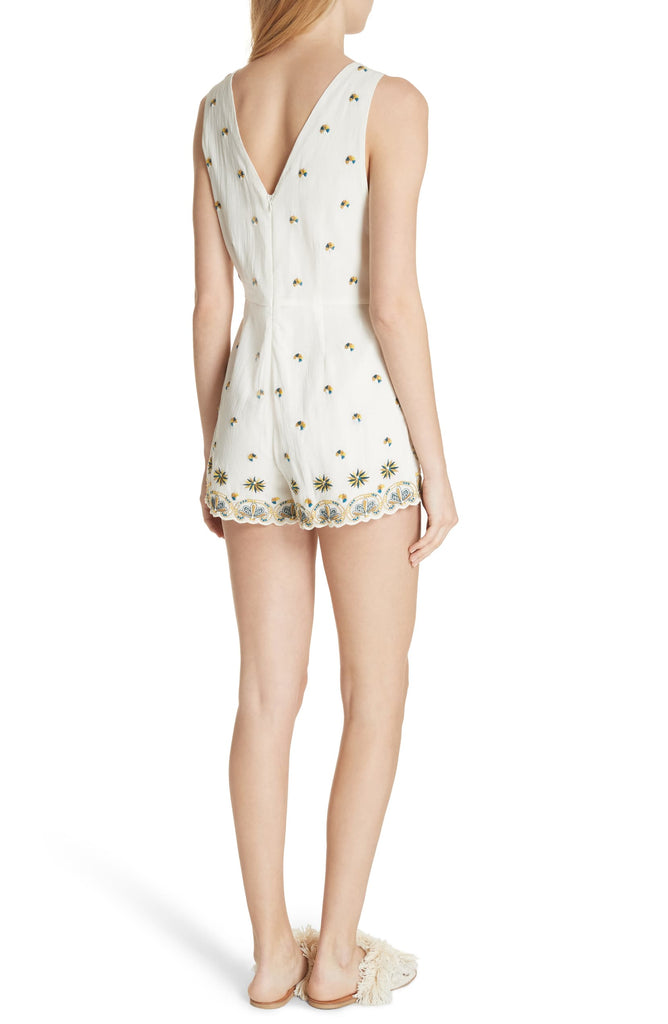 Yieldings Discount Clothing Store's Margarita Embroidered Sleeveless Romper by Free People in Ivory