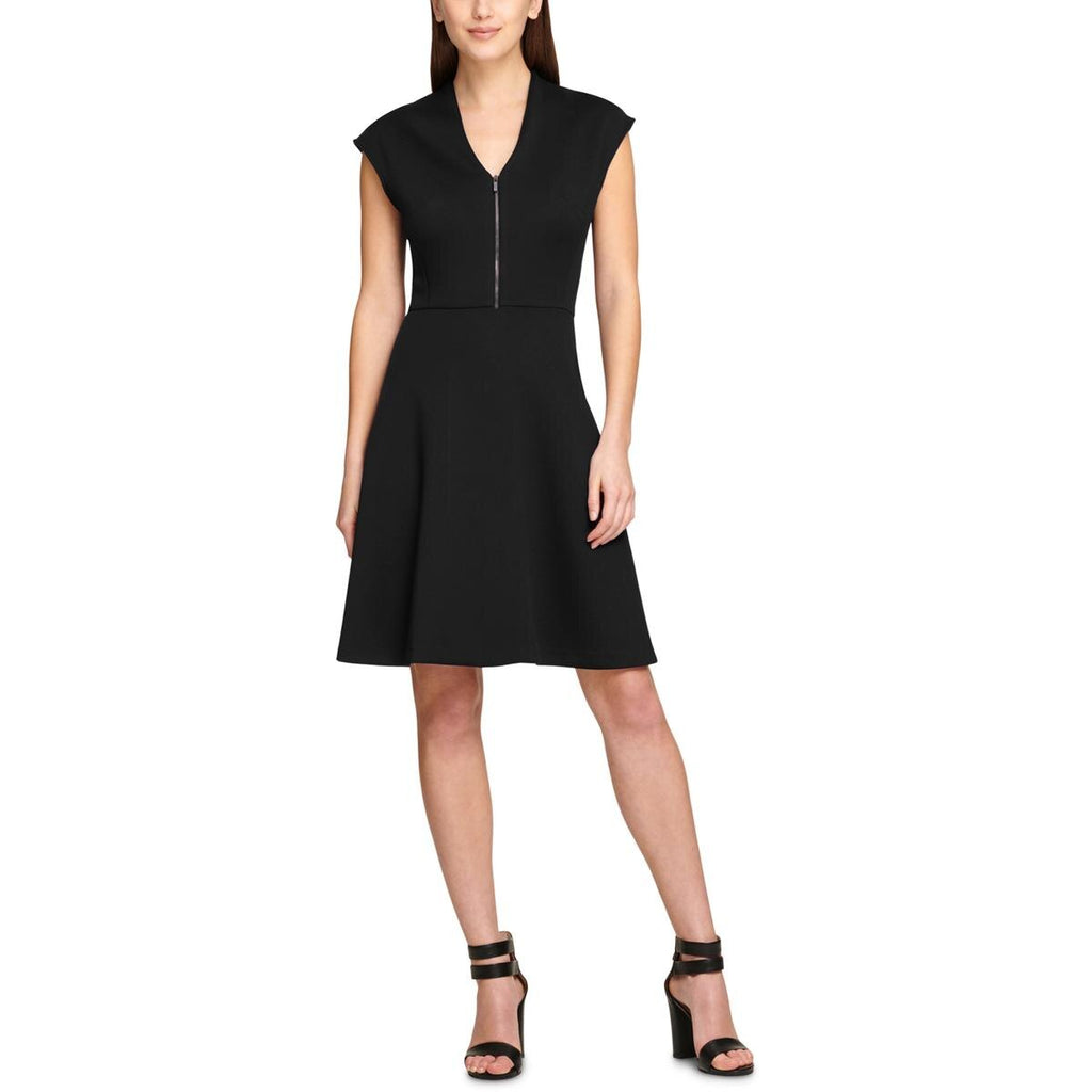 Yieldings Discount Clothing Store's Cap-Sleeve V-Neck Fit & Flare Dress by DKNY in Black