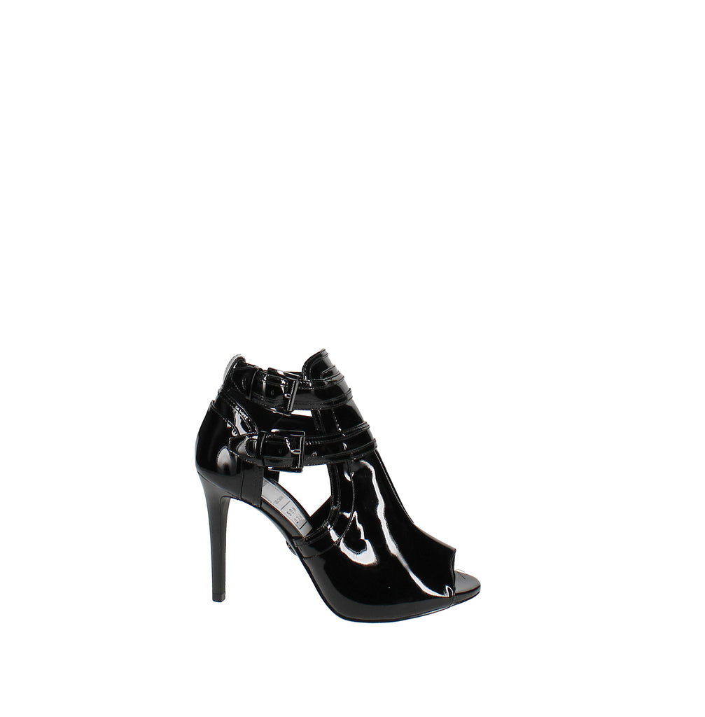 Yieldings Discount Shoes Store's Blaze Open-Toe Booties by MICHAEL Michael Kors in Black Patent