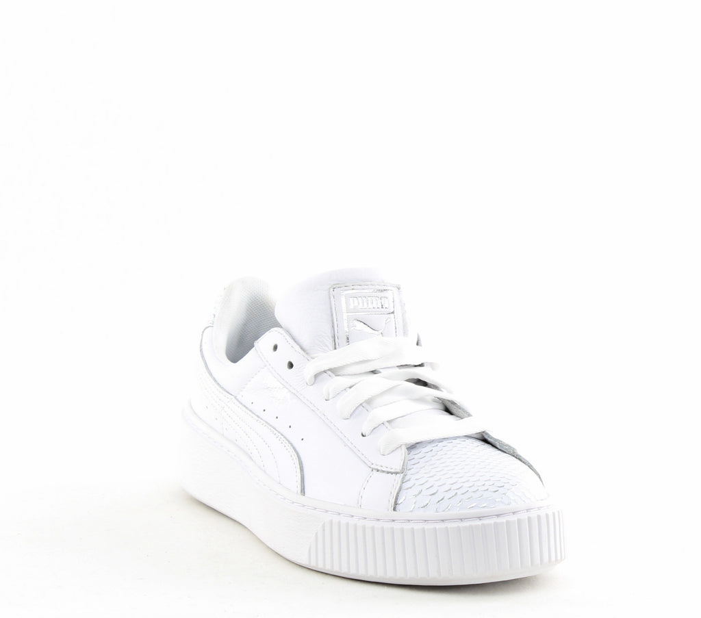 Yieldings Discount Shoes Store's Basket Platform Ocean Sneakers by Puma in White/Silver