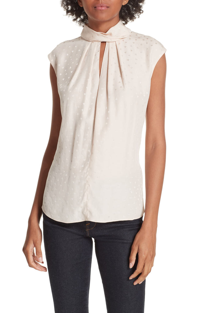Yieldings Discount Clothing Store's Heart Jacquard Silk Top by Rebecca Taylor in Parfait