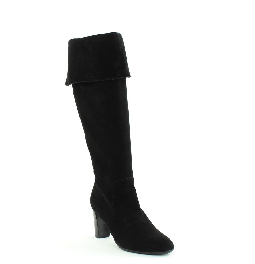 Yieldings Discount Shoes Store's Lavender Over The Knee Boots by Aerosoles in Black Suede