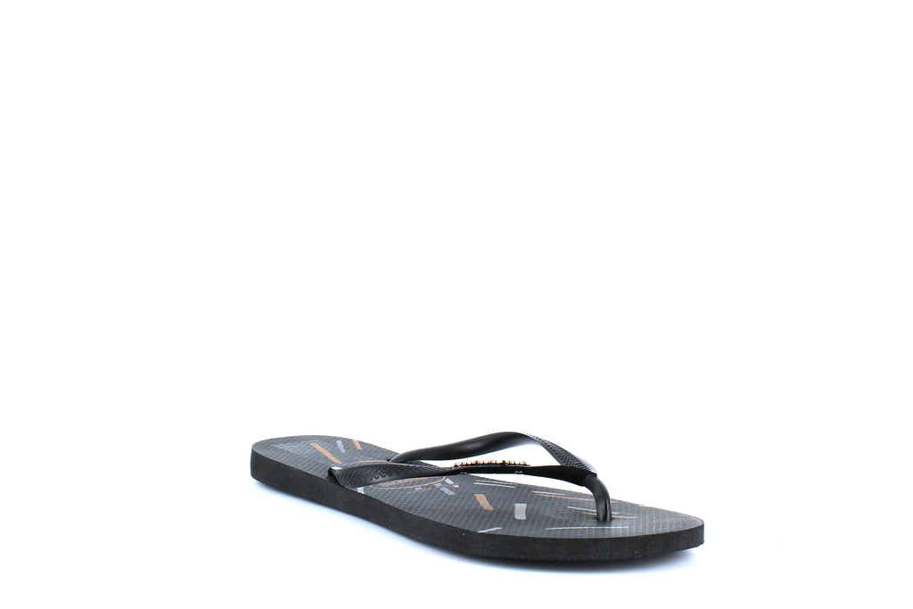 Yieldings Discount Shoes Store's Slim Logo Metallic Fine Lines Sandal by Havaianas in Black/Rose Gold