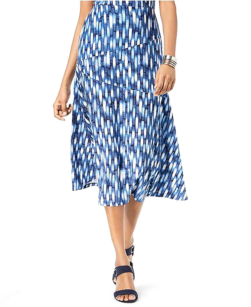 Yieldings Discount Clothing Store's Printed Jacquard A-Line Skirt by JM Collection in Beach Blue High Tide