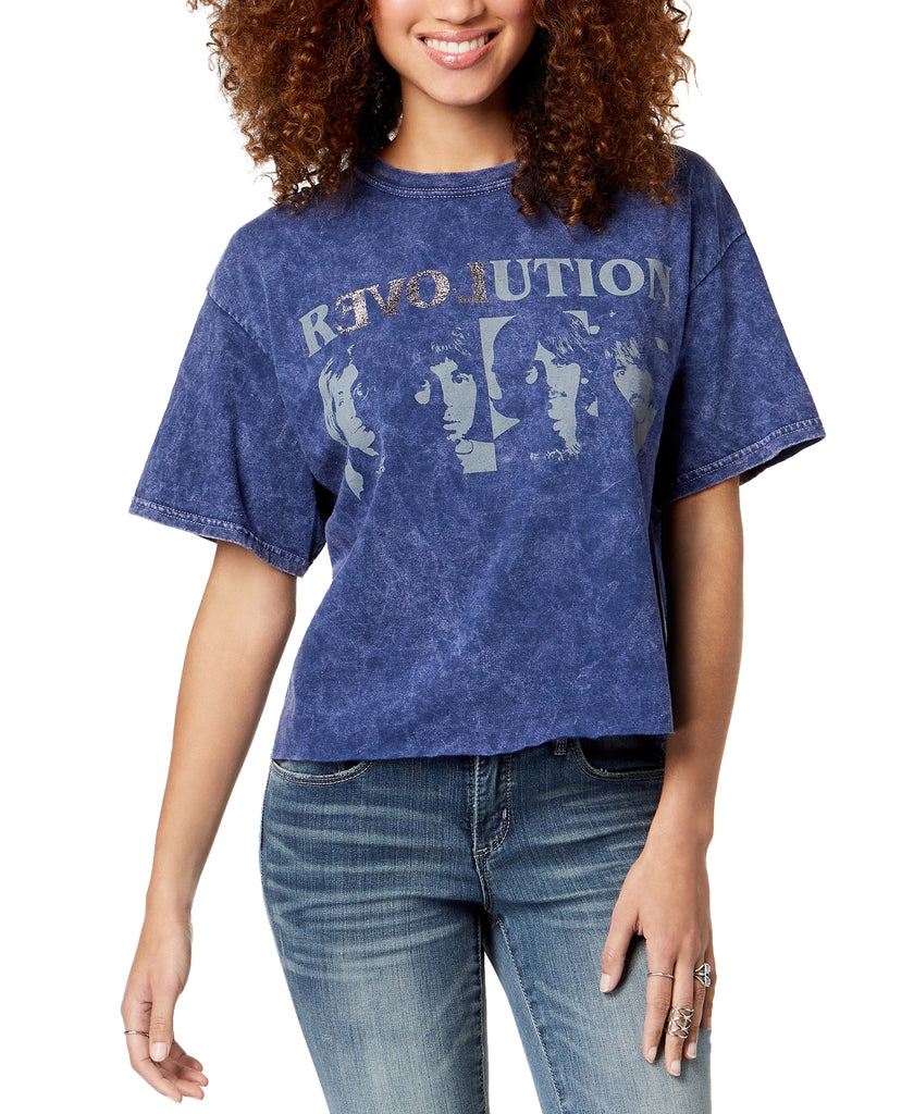 Yieldings Discount Clothing Store's Revolution Beatles Crop T-Shirt by True Vintage in Blue Night
