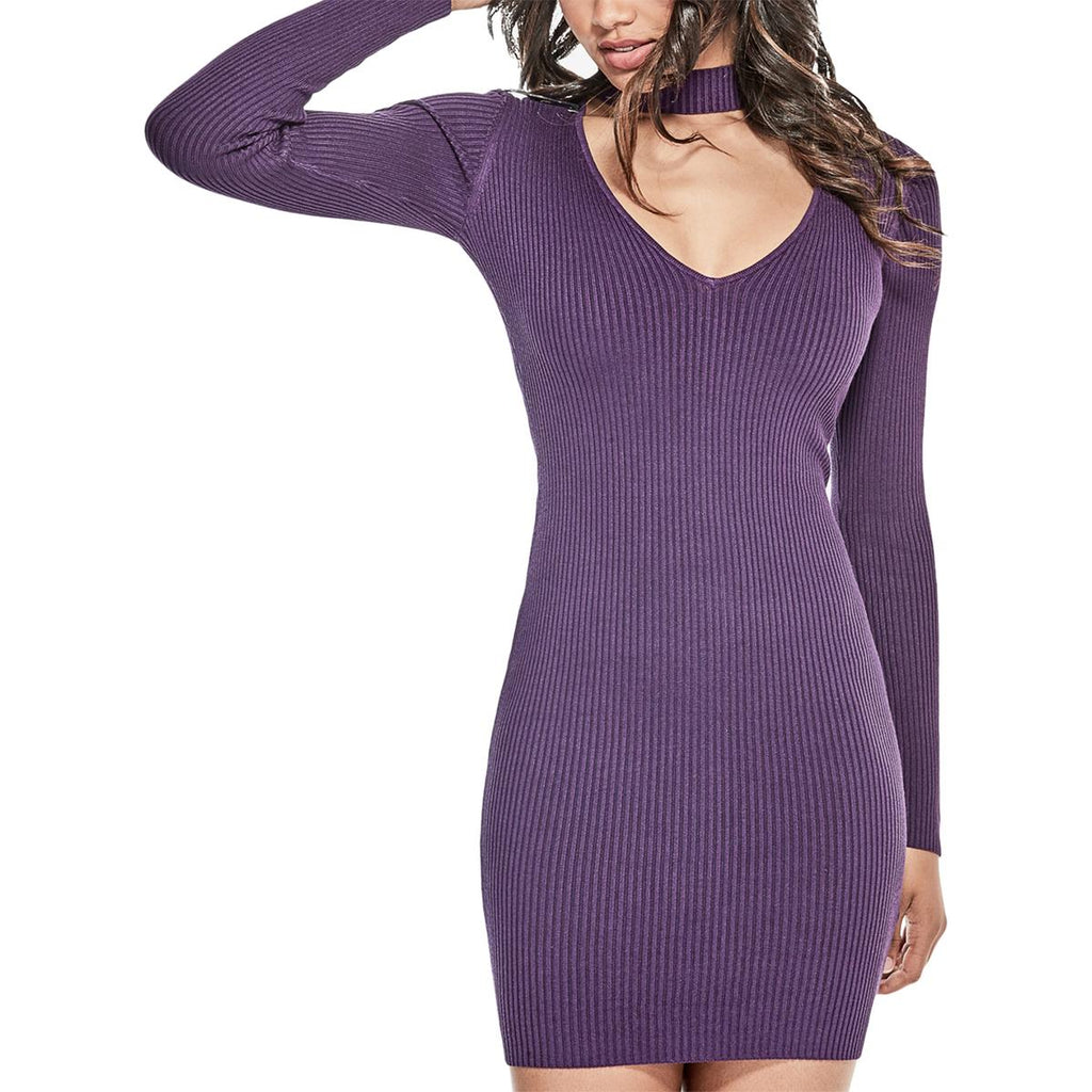 Yieldings Discount Clothing Store's Teagan Cutout Mock Neck Dress by Guess in Blackberry Cordial