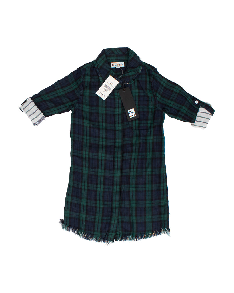 Yieldings Discount Clothing Store's Lily - Dress W Rolled Up Sleeve by DL1961 in Green Double Face Plaid