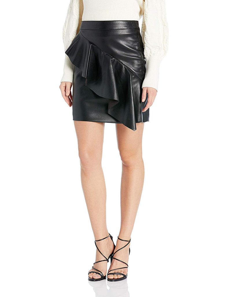Yieldings Discount Clothing Store's Lexie Ruffled Faux-Leather Skirt by Guess in Jet Black