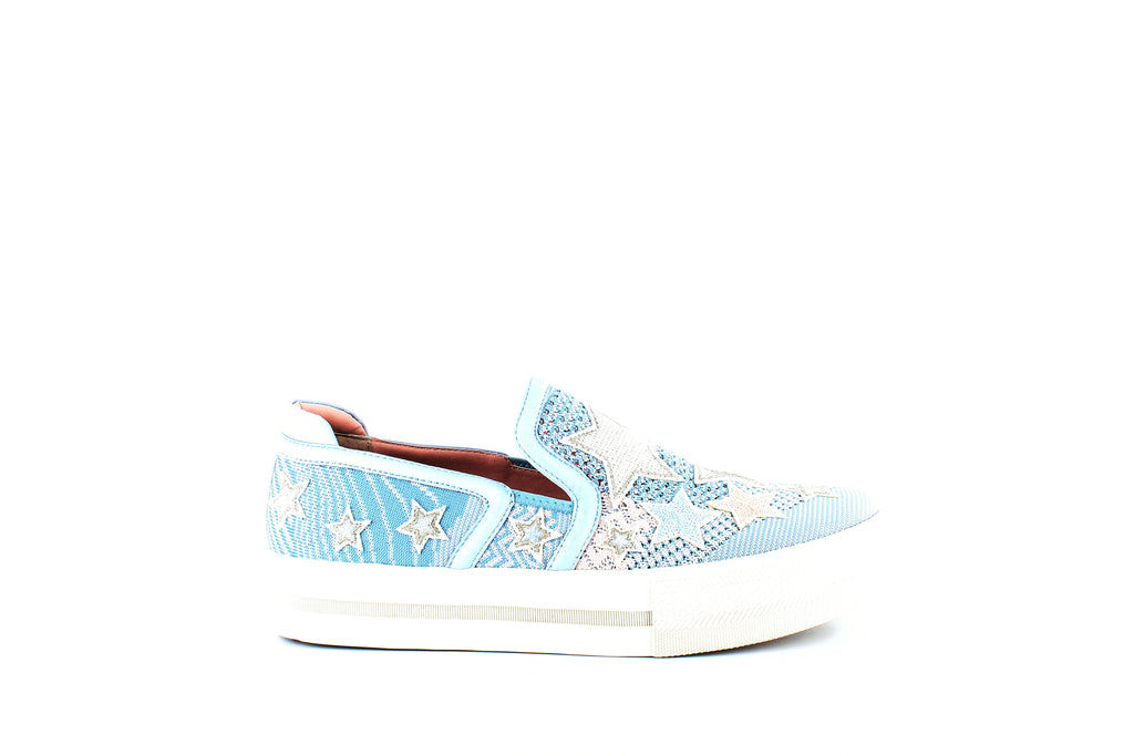 Yieldings Discount Shoes Store's Jeday Star-Patched Sneakers by Ash in Ice Blue/Powder