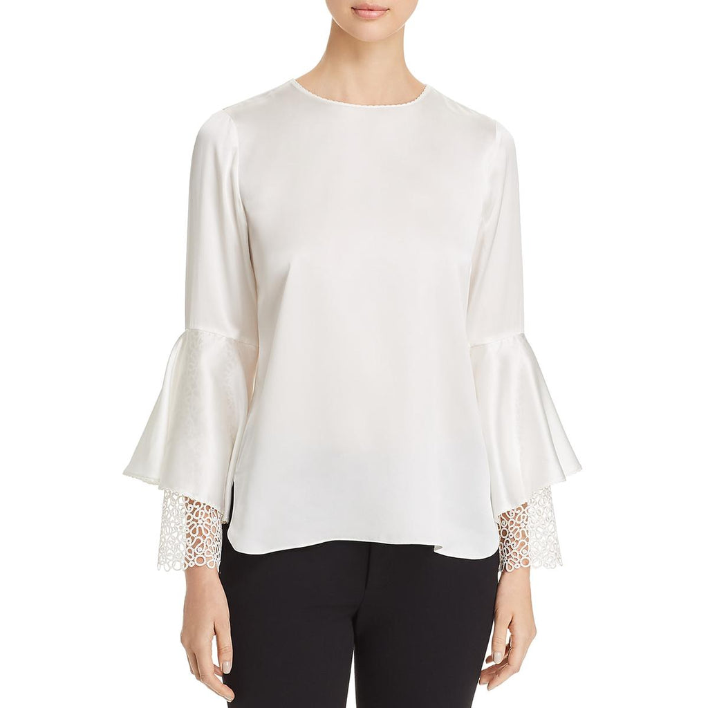 Yieldings Discount Clothing Store's Kaia Silk Bell Sleeve Blouse by Elie Tahari in Fresh Pearl