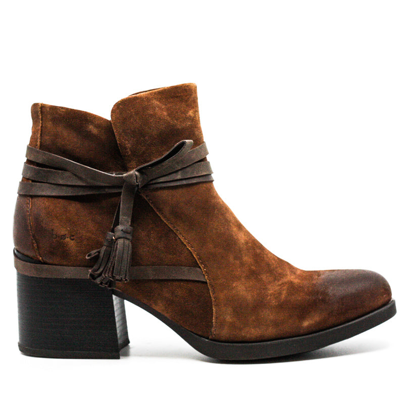 Yieldings Discount Shoes Store's Amber Suede Block Heel Boots by BOC by Born in Dark Brown