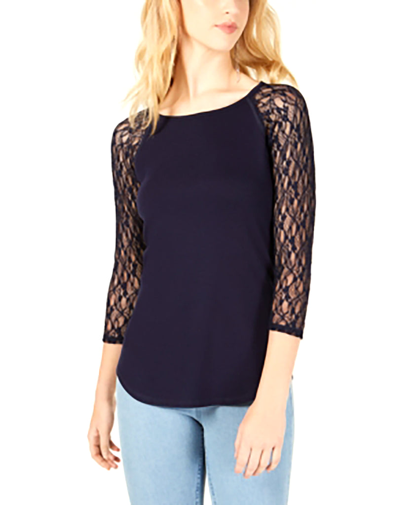 Yieldings Discount Clothing Store's Lace-Sleeved Baseball T-Shirt by Crave Fame by Almost Famous in Navy