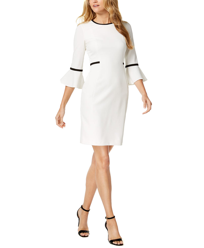 Yieldings Discount Clothing Store's Bell-Sleeve Sheath Dress by Calvin Klein in White