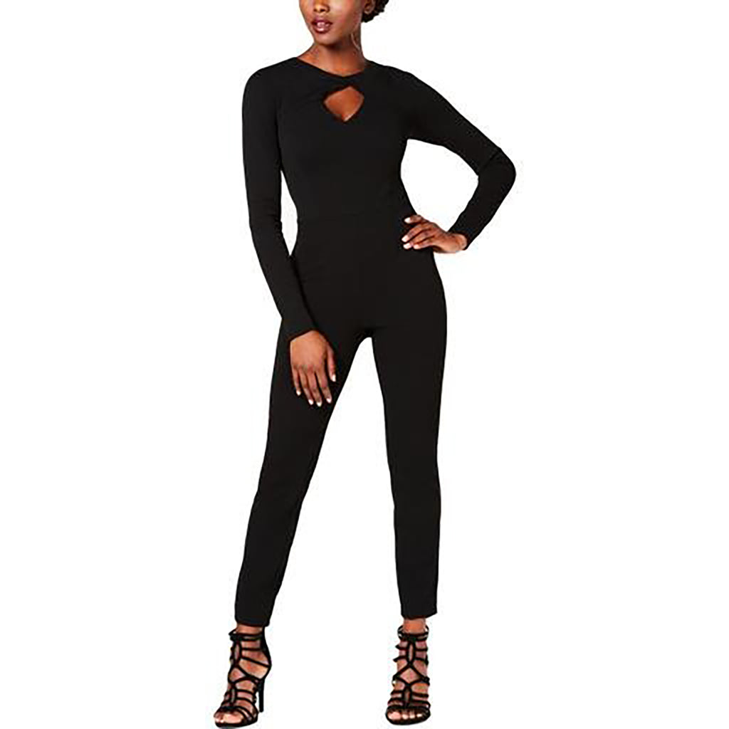 Yieldings Discount Clothing Store's Twist-Neck Devina Jumpsuit by Guess in Jet Black