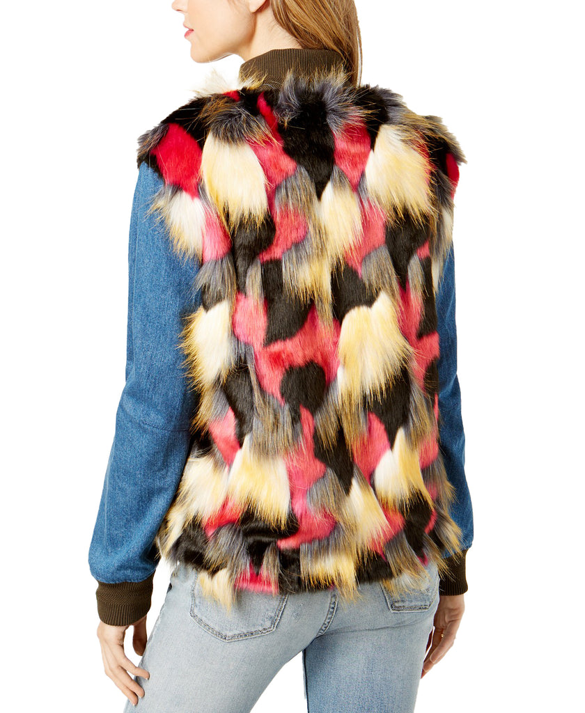 Yieldings Discount Clothing Store's Fur Denim Mix Jacket by Guess in Multi