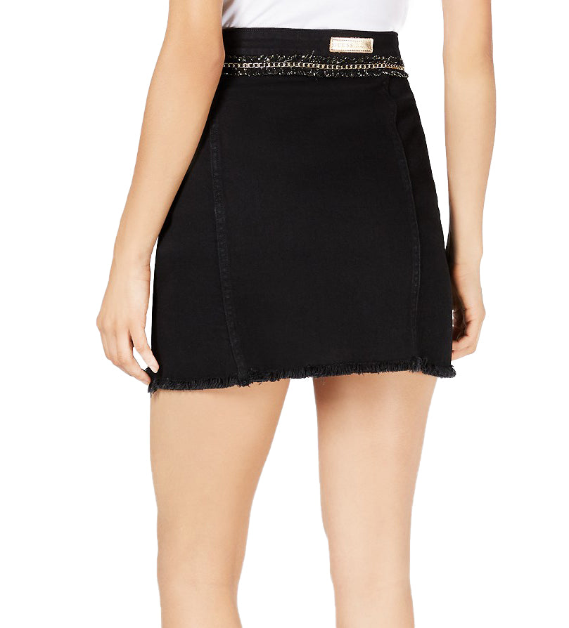 Yieldings Discount Clothing Store's Wilma Denim Mini Skirt by Guess in Parisian Black