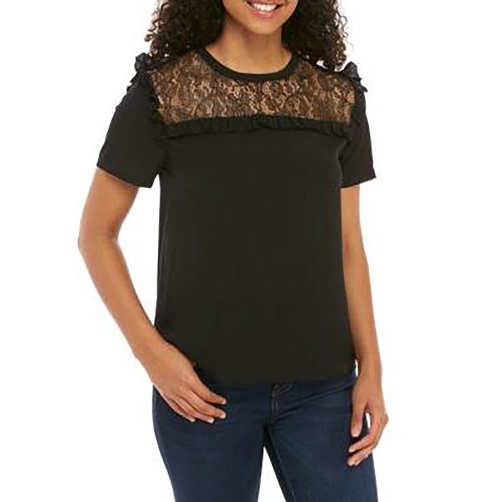 Yieldings Discount Clothing Store's Inset Lace Woven Top by French Connection in Black