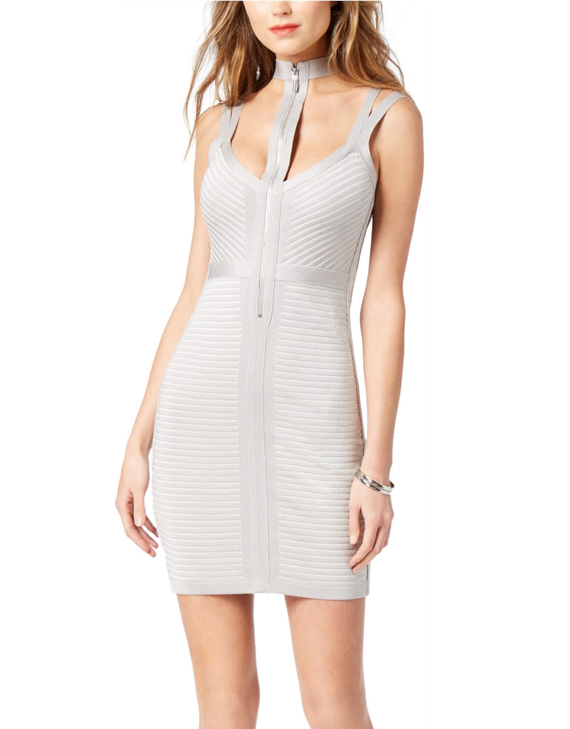 Yieldings Discount Clothing Store's Tahsa Caged Slashed Dress by Guess in Vapor Blue