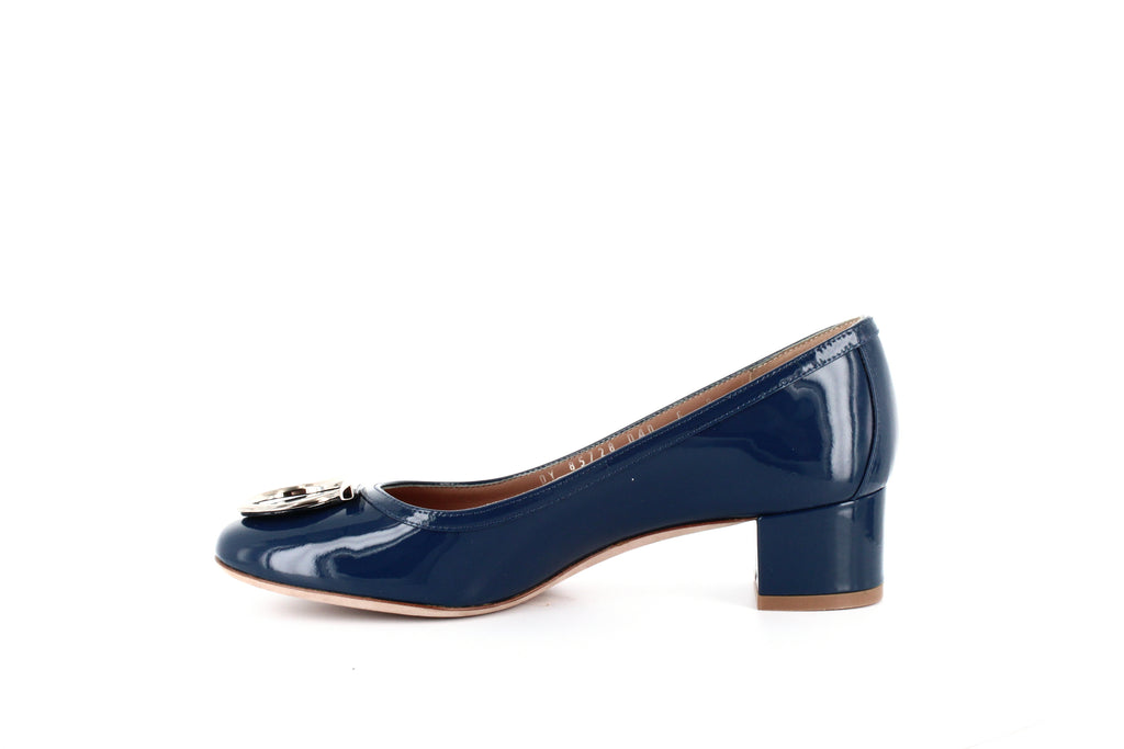 Yieldings Discount Shoes Store's Ena Gancini Low Heel Pumps by Salvatore Ferragamo in Pacific