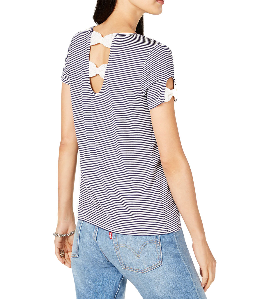 Yieldings Discount Clothing Store's Animalia Striped Bow-Trimmed T-Shirt by Maison Jules in Blue