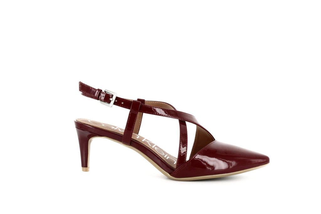 Yieldings Discount Shoes Store's Paula Ankle Strap Pumps by Calvin Klein in Red Rock