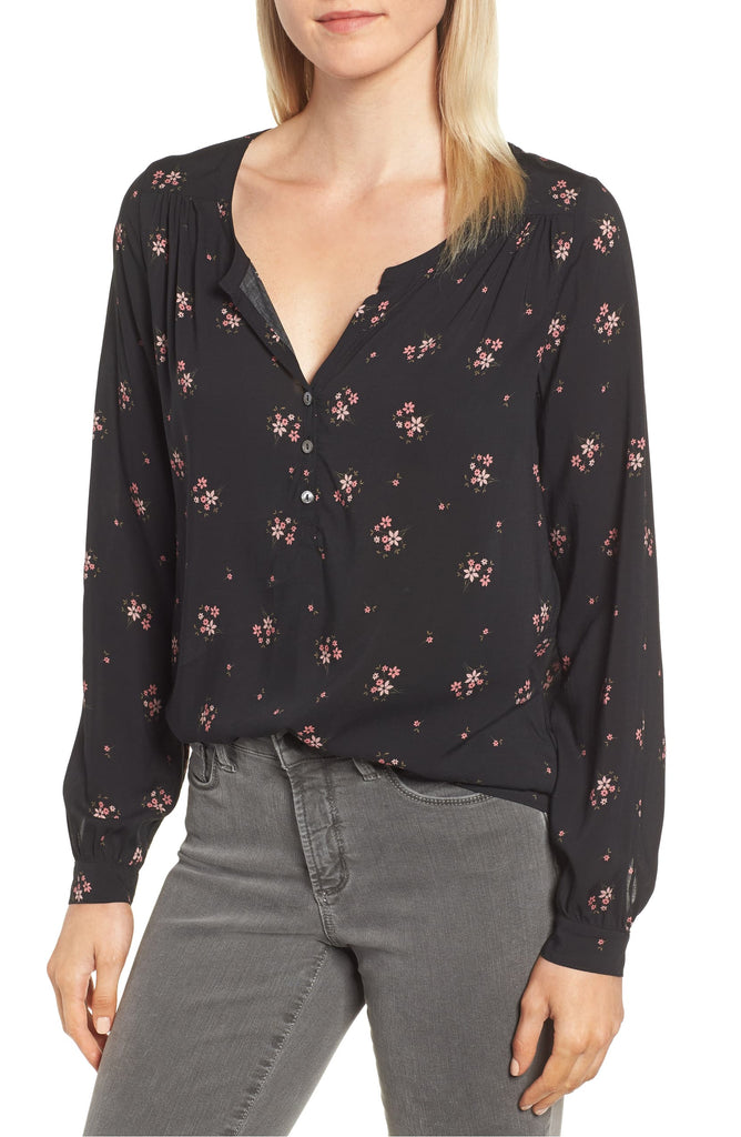 Yieldings Discount Clothing Store's Floral V-Neck Blouse by Velvet in Camellia