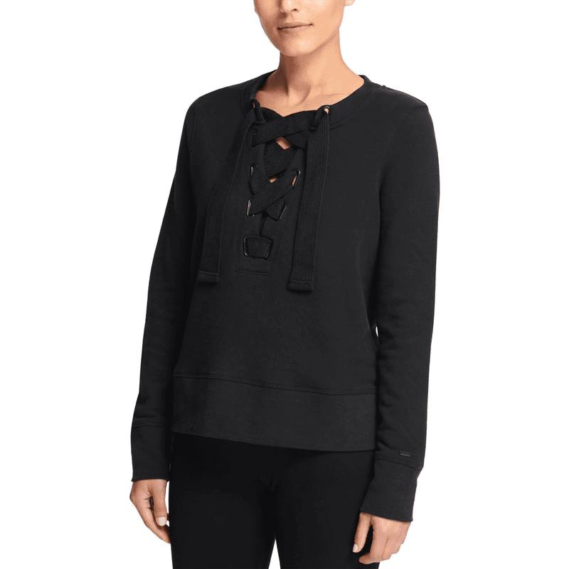 Yieldings Discount Clothing Store's Lace-Up Crewneck Sweatshirt by DKNY in Black