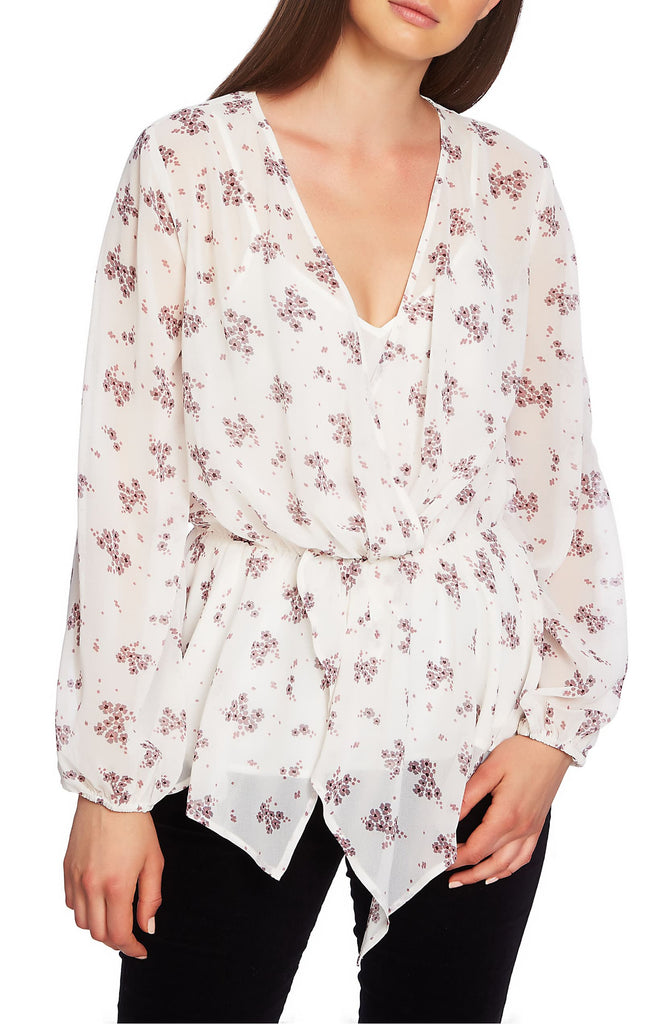 Yieldings Discount Clothing Store's Ditsy Wrap Ruffle Hem Blouse by 1.State in Soft Ecru