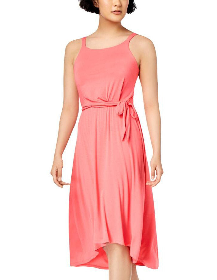 Yieldings Discount Clothing Store's Knot Tie Solid Midi Dress by Maison Jules in Coral Sand