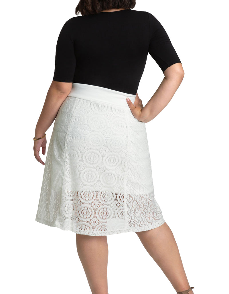 Yieldings Discount Clothing Store's Muse Lace Midi Skirt by Kiyonna in Ivory