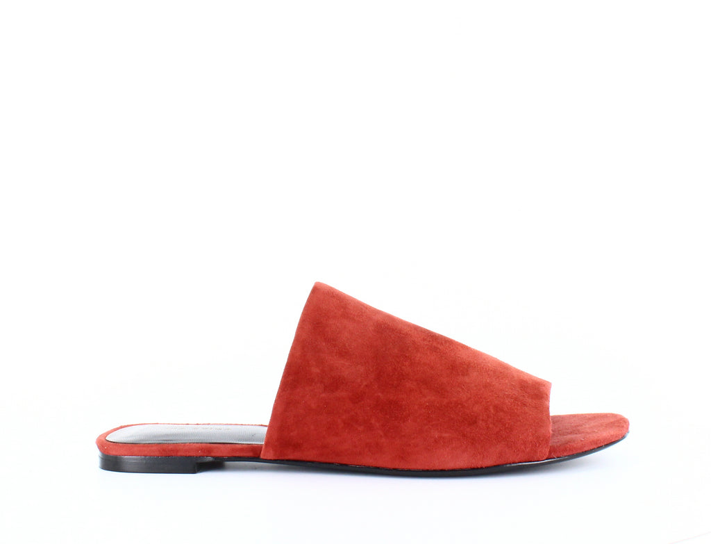 Yieldings Discount Shoes Store's Heather Slide Sandals by Via Spiga in Brick Suede