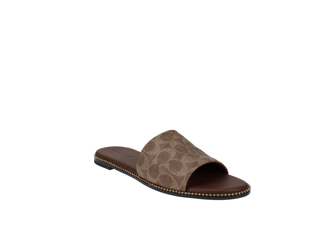 Yieldings Discount Shoes Store's Hayden Bead Chain Slides by Coach in Tan