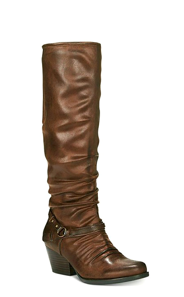 Yieldings Discount Shoes Store's Roz Block-Heel Riding Boots by Baretraps in Brush Brown