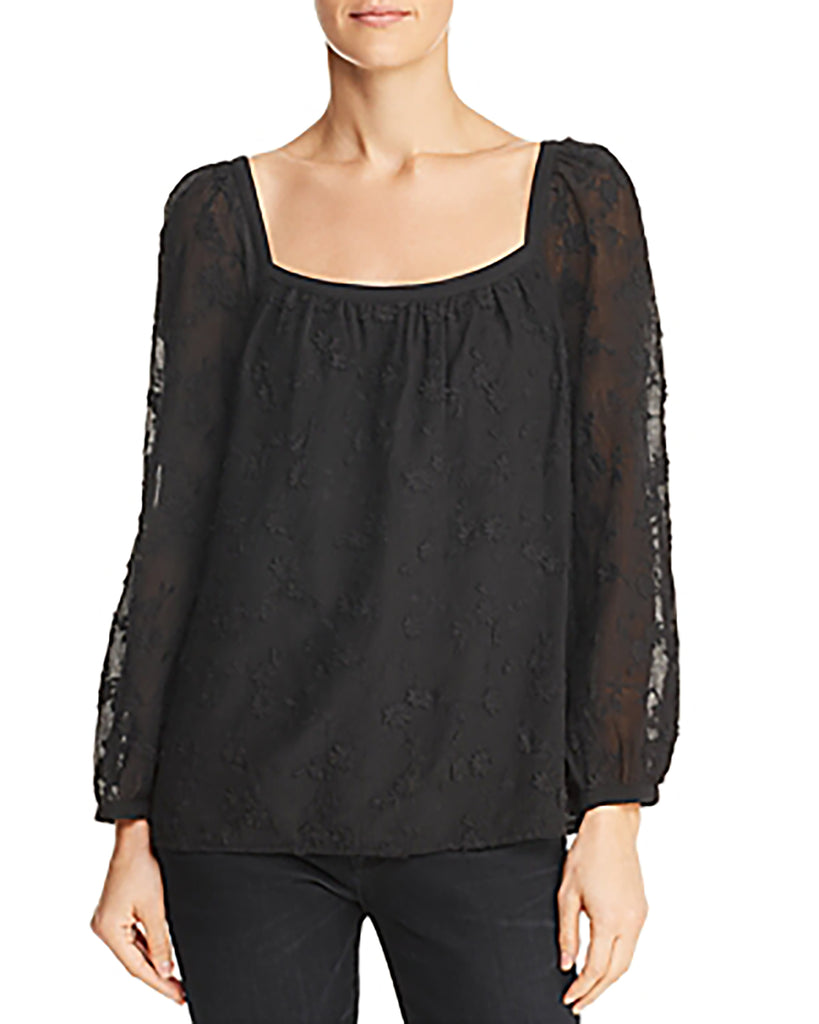 Yieldings Discount Clothing Store's Kyla Embroidered Top by Rebecca Taylor in Black