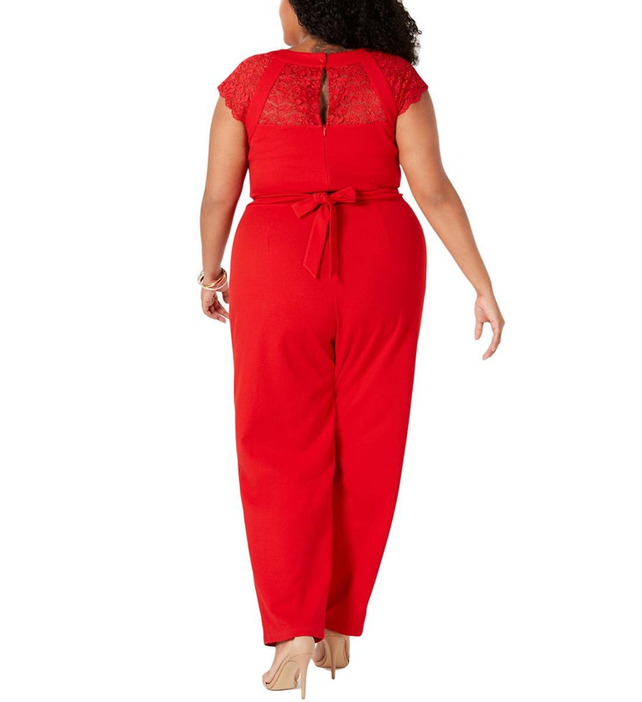 Yieldings Discount Clothing Store's Lace Inset Crepe Jumpsuit by Love Squared in Red